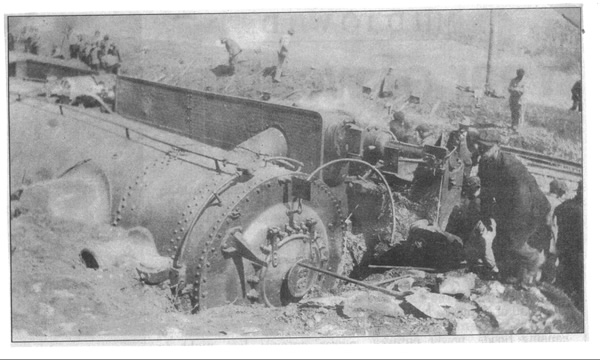 The Centerville Train Wreck showing engine on its side in a bank of dirt