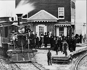 Image of steam engine on Hanover Branch Railroad at Hanover Junction.