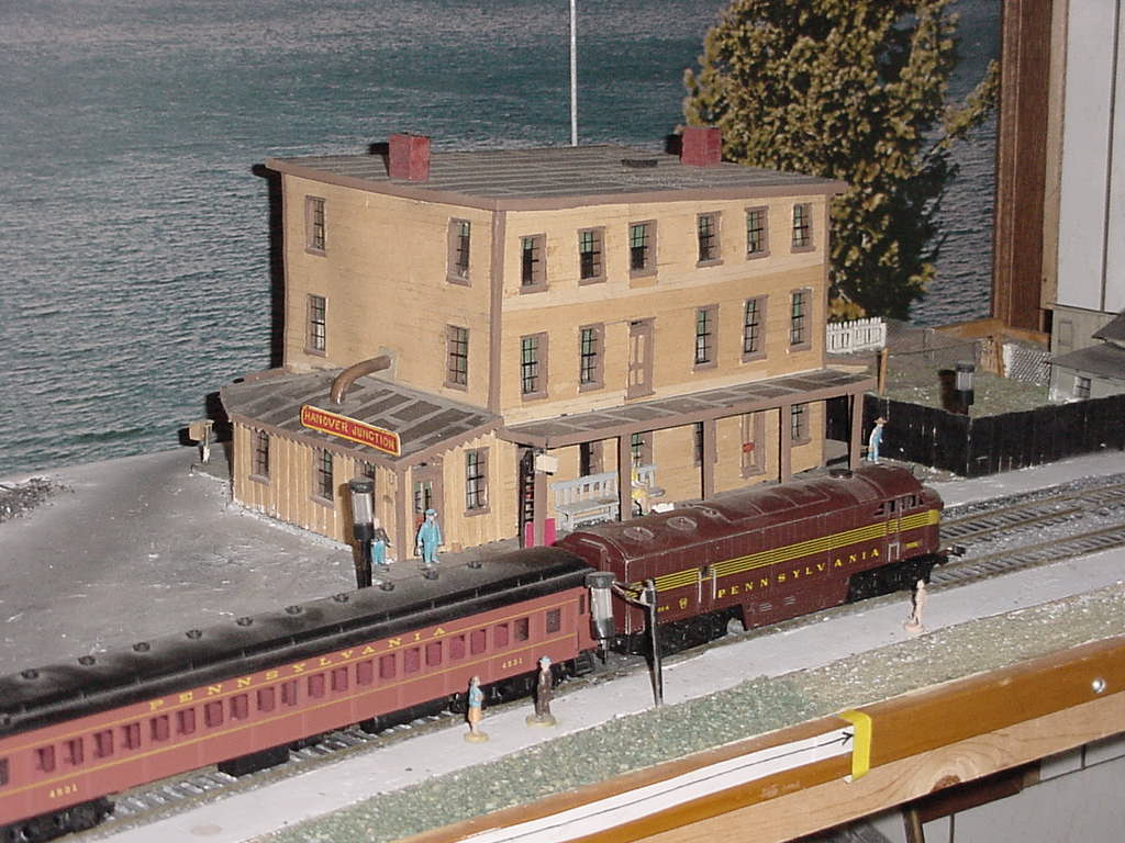 Hanover Junction Railroad Station model showing the platform side of the building.