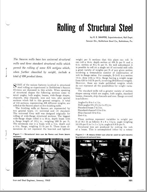 First page of Rolling of Structural Steel article by Roger Shaffer