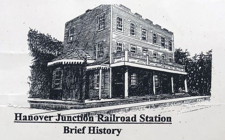 Hanover Junction Railroad Station - A Brief  History Shows drawing of station house. Links to the document.